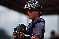 FCL Yankees catcher Juan Crisp (30) during a game against the FCL Blue Jays on June 29, 2021 at the Yankees Minor League Complex in Tampa, Florida.  (Mike Janes/Four Seam Images)