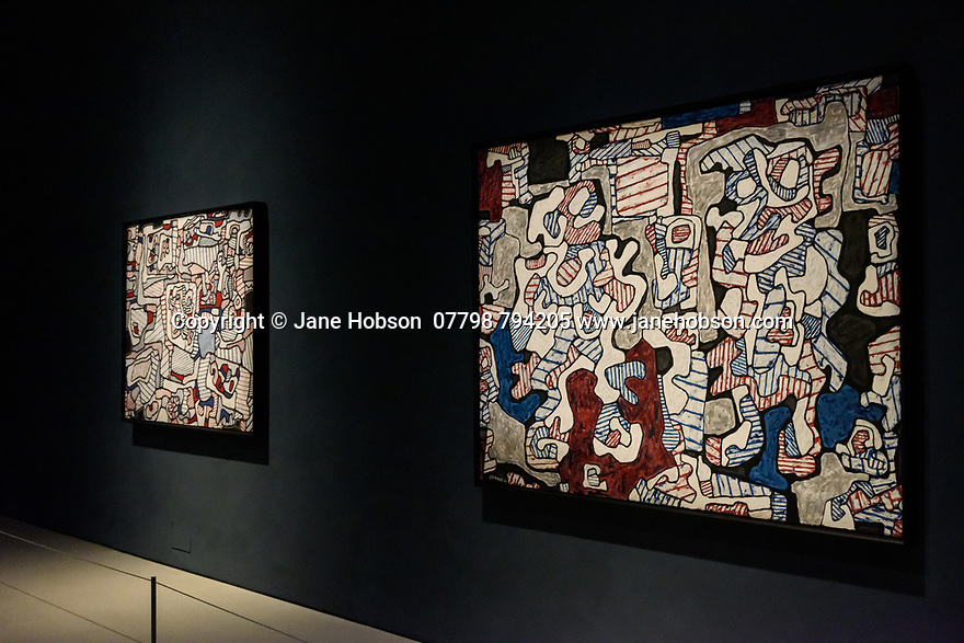Art galleries reopen after lockdown and one of the first to have their private view is the Barbican Art Gallery, for the Jean Dubuffet: Brutal Beauty, exhibition, which runs from 17 May to 22 August 2021. The exhibition design is by architects Witherford Watson Mann with graphic design by the Bon Ton. The exhibition is sponsored by Sotheby's with additional support from Waddington Custot and Bauwerk. Picture shows: L'Hourloupe.