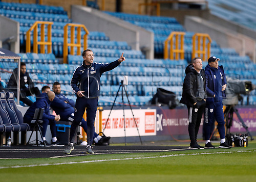 21st November 2020; The Den, Bermondsey, London, England; English Championship Football, Millwall Football Club versus Cardiff City; Millwall Manager Gary Rowett giving instructions to his players from the touchline alongside Cardiff City manager Neil Harris