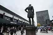 Statue of Robert Stephenson overlooks London Euston station concourse