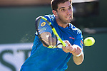 March 11, 2018: Federico Delbonis (ARG) defeated by Roger Federer (SUI) 6-3, 7-6 (6) at the BNP Paribas Open played at the Indian Wells Tennis Garden in Indian Wells, California. ©Mal Taam/TennisClix/CSM