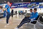 Spartak Trnava v St Johnstone...06.08.14  Europa League Qualifier 3rd Round<br /> Fraaer Wright, Steven MacLean and Chris Millar wait for luggage after arriving at  Bratislava Airport<br /> Picture by Graeme Hart.<br /> Copyright Perthshire Picture Agency<br /> Tel: 01738 623350  Mobile: 07990 594431