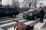 The presidential motorcade arrives at the U.S. Capitol building during the 59th inaugural ceremony for President Joe Biden and Vice President Kamala Harris on Wednesday, January 20, 2021 in Washington D.C.. Biden succeeds President Donald Trump to serve as the 46th President of the U.S., as Harris becomes the first female Vice President.  Photograph by Michael Nagle