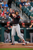 Rochester Red Wings Zander Wiel (12) bats during an International League game against the Buffalo Bisons on August 26, 2019 at Sahlen Field in Buffalo, New York.  Buffalo defeated Rochester 5-4.  (Mike Janes/Four Seam Images)