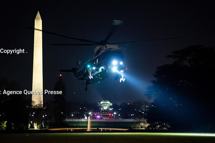 President Trump Travels to Texas<br /> <br /> Marine One carrying President Donald J. Trump approaches for a landing on the South Lawn of the White House Tuesday, Jan. 12, 2021, following his trip to Texas. (Official White House Photo by Tia Dufour)