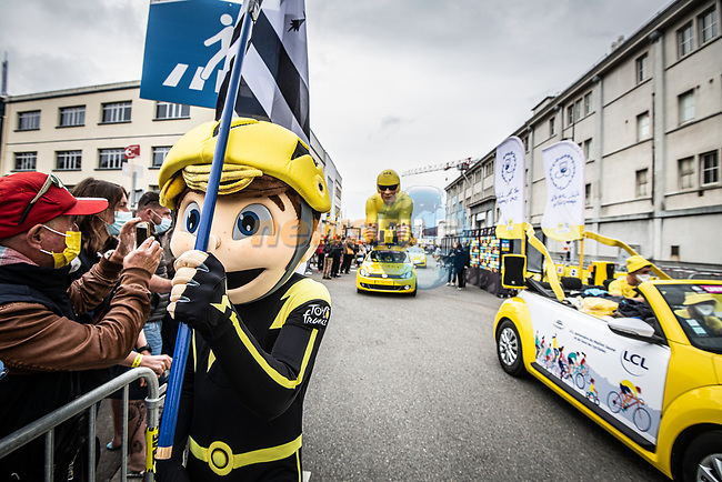 The publicity caravan before Stage 1 of the 2021 Tour de France, running 197.8km from Brest to Landerneau, France. 26th June 2021.  <br /> Picture: A.S.O./Charly Lopez   Cyclefile<br /> <br /> All photos usage must carry mandatory copyright credit (© Cyclefile   A.S.O./Charly Lopez)