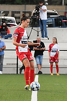 Charlotte Laridon (9) of Zulte Waregem  pictured during a female soccer game between Sporting Charleroi and SV Zulte-Waregem on the third matchday in the 2021 - 2022 season of Belgian Scooore Womens Super League , friday 3 September 2021 in Marcinelle , Belgium . PHOTO SPORTPIX | STIJN AUDOOREN
