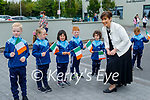 Norma Foley TD Minister of Education chatting to the children at O'Brenann NS on Wednesday