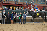 HOT SPRINGS, AR - JANUARY 16: Jockey Channing Hill aboard Uncontested #6 in the winners circle after winning the Smarty Jones Stakes at Oaklawn Park on January 16, 2017 in Hot Springs, Arkansas. (Photo by Justin Manning/Elipse Sportwire/Getty Images)