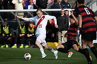 Chester, PA - Sunday December 10, 2017: Andrew Gutman, Logan Panchot during the NCAA 2017 Men's College Cup championship match between the Stanford Cardinal and the Indiana Hoosiers at Talen Energy Stadium.