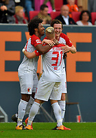 21.10.2017,  Football 1.Liga 2017/2018, 9.Match Day, FC Augsburg - Hannover 96, in der WWK-Arena Augsburg. Caiuby (FC Augsburg), Philipp Max (FC Augsburg) Michael Gregoritsch (FC Augsburg)  *** Local Caption *** © pixathlon +++ tel. +49 - (040) - 22 63 02 60 - mail: info@pixathlon.de<br /> <br /> +++ NED + SUI out !!! +++
