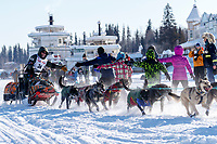 Jeff King runs past the historical Riverboat Discovery paddlewheel boats frozen in on the Chena River shortly after leaving the re-start line in Fairbanks, Alaska during the 2017 Iditarod on Monday March 6, 2017<br /> <br /> Photo by Jeff Schultz/SchultzPhoto.com  (C) 2017  ALL RIGHTS RESVERVED