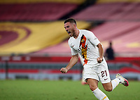 Roma s Jordan Veretout celebrates after scoring the winning goal during the Italian Serie A football match between Roma and Parma at Rome's Olympic stadium, July 8, 2020. Roma won 2-1.<br /> UPDATE IMAGES PRESS/Isabella Bonotto
