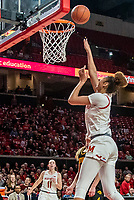 COLLEGE PARK, MD - FEBRUARY 13: Shakira Austin #1 of Maryland shoots for a basket during a game between Iowa and Maryland at Xfinity Center on February 13, 2020 in College Park, Maryland.