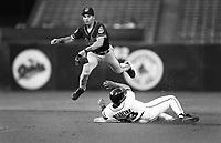 Omar Vizquel of the Cleveland Indians at Anaheim Stadium in Anaheim,California during the 1996 season. (Larry Goren/Four Seam Images)
