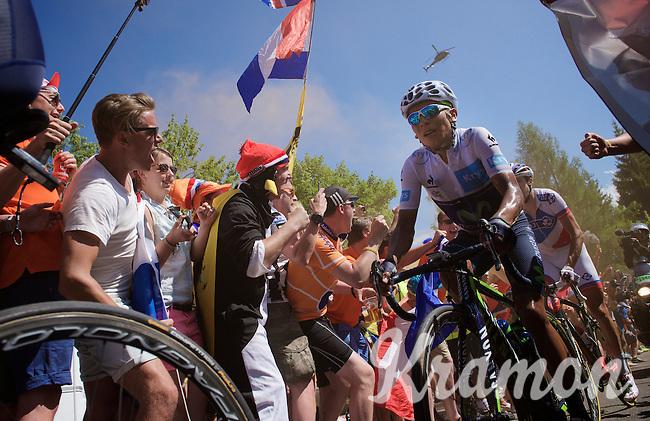 Nairo Quintana (COL/Movistar)  experiencing the craziness at the Dutch Corner (nr7) up Alpe d'Huez<br /> <br /> stage 20: Modane Valfréjus - Alpe d'Huez (111km)<br /> 2015 Tour de France