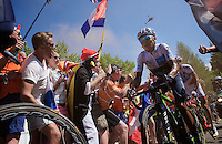 Nairo Quintana (COL/Movistar)  experiencing the craziness at the Dutch Corner (nr7) up Alpe d'Huez<br /> <br /> stage 20: Modane Valfréjus - Alpe d'Huez (111km)<br /> 2015 Tour de France