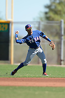 Texas Rangers second baseman Luis Marte (36) during an Instructional League game against the Cincinnati Reds on October 3, 2014 at Surprise Stadium Training Complex in Surprise, Arizona.  (Mike Janes/Four Seam Images)