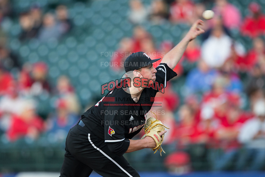Louisville Cardinals starting pitcher Brendan McKay (38) delivers a pitch to the plate against the Notre Dame Fighting Irish in Game Eight of the 2017 ACC Baseball Championship at Louisville Slugger Field on May 25, 2017 in Louisville, Kentucky.  The Cardinals defeated the Fighting Irish 10-3.  (Brian Westerholt/Four Seam Images)