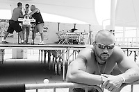 Richard Colero takes a break and waits for his next opponent at the Staten Island Borough Championship on June 18, 2005.
