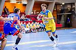 Fynn Beckmann (HSG Konstanz #22) ; li: Jona Scott (HBW Balingen #22) beim Spiel HSG Konstanz – HBW Balingen-Weilstetten beim BGV Handball Cup 2020.<br /> <br /> Foto © PIX-Sportfotos *** Foto ist honorarpflichtig! *** Auf Anfrage in hoeherer Qualitaet/Aufloesung. Belegexemplar erbeten. Veroeffentlichung ausschliesslich fuer journalistisch-publizistische Zwecke. For editorial use only.