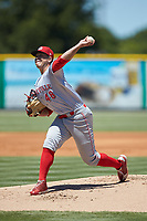 Greeneville Reds starting pitcher Jacob Heatherly (48) in action against the Burlington Royals at Burlington Athletic Stadium on July 8, 2018 in Burlington, North Carolina. The Royals defeated the Reds 4-2.  (Brian Westerholt/Four Seam Images)