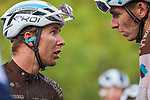 Benoit Cosnefroy (FRA) 2nd place and team mate Romain Bardet (FRA) AG2R-La Mondiale finishes in 7th place at the end of Paris-Tours 2020, running 213km from Chartres to Tours, France. 11th October 2020.<br /> Picture: ASO/Jonathan Biche | Cyclefile<br /> All photos usage must carry mandatory copyright credit (© Cyclefile | ASO/Jonathan Biche)