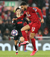 Liverpool's Joe Gomez controls the ball<br /> <br /> Photographer Rich Linley/CameraSport<br /> <br /> UEFA Champions League Round of 16 Second Leg - Liverpool v Atletico Madrid - Wednesday 11th March 2020 - Anfield - Liverpool<br />  <br /> World Copyright © 2020 CameraSport. All rights reserved. 43 Linden Ave. Countesthorpe. Leicester. England. LE8 5PG - Tel: +44 (0) 116 277 4147 - admin@camerasport.com - www.camerasport.com