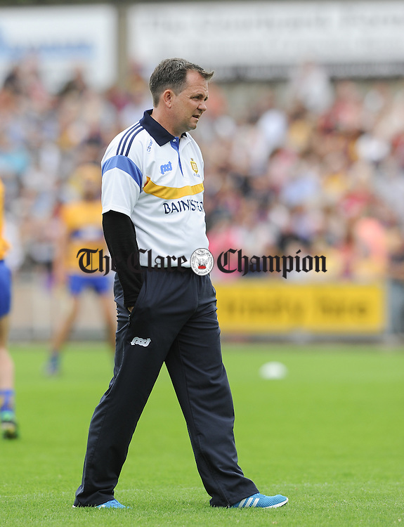Clare  manager Davy Fitzgerald on the pitch before their All-Ireland qualifier replay at Wexford Park. Photograph by John Kelly.