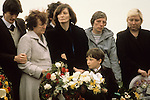 "Bobby Sands ""Robert Gerard Sands"" funeral with mother in pale coat. Wife Geraldine Noade (centre) and son Gerard 1981 Milltown cemetery Northern Ireland UK 1980s UK"