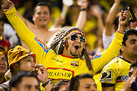 Ecuador fans celebrate a goal. Ecuador defeated Chile 3-0 during an international friendly at Citi Field in Flushing, NY, on August 15, 2012.
