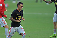 WASHINGTON, DC - SEPTEMBER 12: Kaku #10 of New York Red Bulls warming up during a game between New York Red Bulls and D.C. United at Audi Field on September 12, 2020 in Washington, DC.