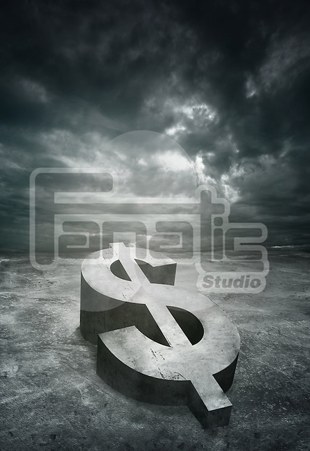 Illustrative image of stormy clouds over dollar sign representing recession