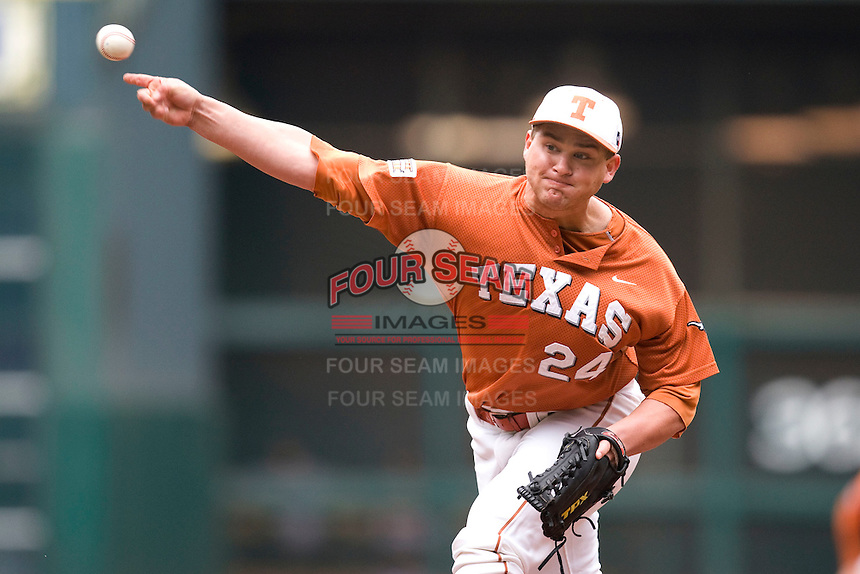 NCAA Baseball featuring the Texas Longhorns against the Missouri Tigers. Green, Cole 4908  at the 2010 Astros College Classic in Houston's Minute Maid Park on Sunday, March 7th, 2010. Photo by Andrew Woolley