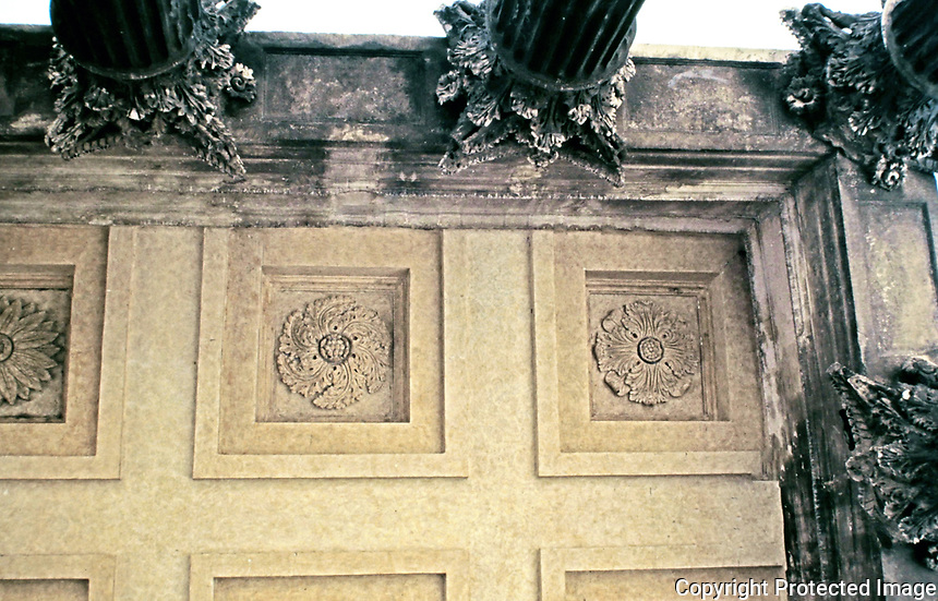 Detail of porch coffers, Maison Carree, Nimes France, 20 BCE