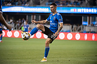 SAN JOSE, CA - SEPTEMBER 4: Paul Marie #3 of the San Jose Earthquakes contorls the ball during a game between Colorado Rapids and San Jose Earthquakes at PayPal Park on September 4, 2021 in San Jose, California.