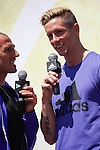 Runner Chema Martinez (L) and Atletico´s player Fernando Torres during Adidas presentation in Madrid, Spain. April 20, 2015. (ALTERPHOTOS/Victor Blanco)