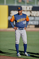 Miguel Romero (19) of the Las Vegas Aviators before the game against the Salt Lake Bees at Smith's Ballpark on July 20, 2019 in Salt Lake City, Utah. The Aviators defeated the Bees 8-5. (Stephen Smith/Four Seam Images)