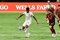 ATLANTA, GA - SEPTEMBER 02: Juan Agudelo #12 of Inter Miami CF controls the ball during a game between Inter Miami CF and Atlanta United FC at Mercedes-Benz Stadium on September 02, 2020 in Atlanta, Georgia.