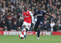 Arsenal's Eddie Nketiah and West Ham United's Jeremy Ngakia<br /> <br /> Photographer Rob Newell/CameraSport<br /> <br /> The Premier League - Arsenal v West Ham United - Saturday 7th March 2020 - The Emirates Stadium - London<br /> <br /> World Copyright © 2020 CameraSport. All rights reserved. 43 Linden Ave. Countesthorpe. Leicester. England. LE8 5PG - Tel: +44 (0) 116 277 4147 - admin@camerasport.com - www.camerasport.com