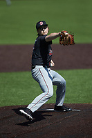 South Carolina Gamecocks starting pitcher Julian Bosnic (18) in action against the Vanderbilt Commodores at Hawkins Field on March 21, 2021 in Nashville, Tennessee. (Brian Westerholt/Four Seam Images)