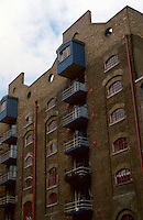 London:  Docklands, St. Andrew's Wharf, Bermondsey. Note: new brickwork at top.  Photo '90.