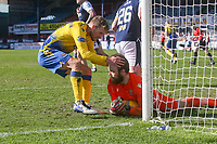 3rd April 2021; Dens Park, Dundee, Scotland; Scottish FA Cup Football, Dundee FC versus St Johnstone; David Wotherspoon congratulates St Johnstone goalkeeper ZanderClark after his penalty kick save from Charlie Adam of Dundee in the 75th minute
