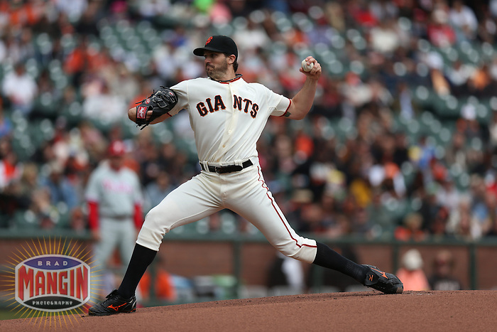 SAN FRANCISCO, CA - MAY 8:  Barry Zito #75 of the San Francisco Giants pitches against the Philadelphia Phillies during the game at AT&T Park on Wednesday, May 8, 2013 in San Francisco, California. Photo by Brad Mangin