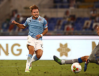 Football, Serie A: S.S. Lazio - Brescia, Olympic stadium, Rome, July 29, 2020. <br /> Lazio's Ciro Immobile (l) scores in spite of Brescia's goalkeeper Lorenzo Andrenacci (r) during the Italian Serie A football match between S.S. Lazio and Brescia at Rome's Olympic stadium, Rome, on July 29, 2020. <br /> UPDATE IMAGES PRESS/Isabella Bonotto
