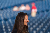 Philadelphia, PA - August 27, 2019:  Carli Lloyd threw out the first pitch at the Philadelphia Phillies game at Citizens Bank Park.