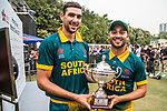 Corne Dry (l) and Aubrey Swanepoel of South Africa celebrate winning Hong Kong Cricket World Sixes 2017 Cup final match between Pakistan vs South Africa at Kowloon Cricket Club on 29 October 2017, in Hong Kong, China. Photo by Vivek Prakash / Power Sport Images