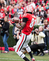 The Georgia Bulldogs beat the App State Mountaineers 45-6 in their homecoming game.  After a close first half, UGA scored 31 unanswered points in the second half.  Georgia Bulldogs wide receiver Reggie Davis (81)