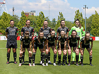 Sara Yuceil (13) of OHL, Lenie Onzia (8) of OHL, Hannah Eurlings (9) of OHL, Auke Swevers (4) of OHL, goalkeeper Louise Van Den Bergh (1) of OHL (front row L to R) Zenia Mertens (6) of OHL, Luna Vanzeir (10) of OHL, Jill Janssens (7) of OHL, Estee Cattoor (11) of OHL, Marie Detruyer (17) of OHL and Marith De Bondt (31) of OHL  pose for the team photo before a female soccer game between Standard Femina de Liege and Oud Heverlee Leuven on the 10th and last matchday in play off 1 of the 2020 - 2021 season of Belgian Scooore Womens Super League , saturday 29 th of May 2021  in Angleur , Belgium . PHOTO SPORTPIX.BE | SPP | SEVIL OKTEM