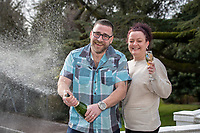 "Pictured: David Taylor and wife Stacey in Cardiff, Wales UK. Wednesday 26 February 2020<br /> Re: A chef and a nursing assistant from Llanharry are marking their first year wedding anniversary in style after a life-changing £1M UK Millionaire Maker win from the EuroMillions draw on Friday, 24 January 2020.<br /> David Taylor (40), who is a chef, and his wife Stacey (37) have returned to the venue where they were married – Manor Parc Hotel in Thornhill, Cardiff – for a doubly special celebration. <br /> The pair still can't quite believe their luck since becoming Wales's newest National Lottery millionaires. David described the moment when he found out the life-changing news, <br /> ""I've always been a night owl and even after a late shift I sometimes sit into the early hours drinking coffee."